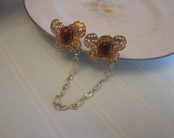 Sweater Guard / Sweater Clip: Repurposed Vintage Gold Stone Butterfly Filigree Cardigan Clip. Blouse Clip