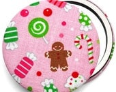 Compact mirror/ pocket mirror/ handbag mirror, Candy fabric Christmas compact mirror, great for stocking fillers & party bag gifts