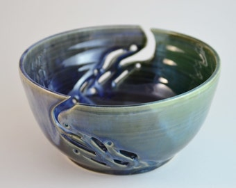 Double Ceramic Yarn Bowl, Stoneware  Pottery Blue Green Hand Carved Bowl, Wheel Thrown Ceramic Knitting Bowl, Yarn Originizer, Made to Order