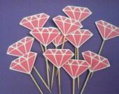 12 Pink Diamond cupcake toppers, appetizer picks-food picks-birthday cupcake toppers