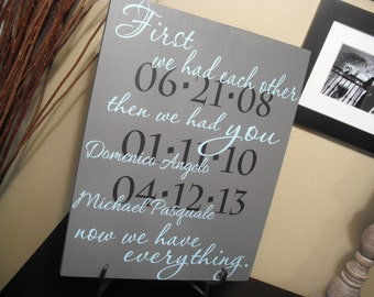 FIRST We Had Each Other - Custom Quote Sign - Important Dates Sign - Poster Size Hand Painted Wood 16 x 20