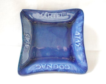 French Vintage Martell Cognac Publicity Bar Blue Faience Ashtray (A780)