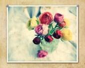 Vintage Style Photo Ranunculus in Mason Jar Colorful--Fine Art Lomography Print 8x10