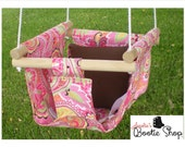 Portable Outdoor or Indoor Fabric Baby Infant Childern's Tree Swing to Toddler Swing - Baby Toy in Pink Floral