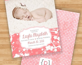 Double Sided Baby Girl Birth Announcement - Coral Pink Floral Design and Polka Dot Back