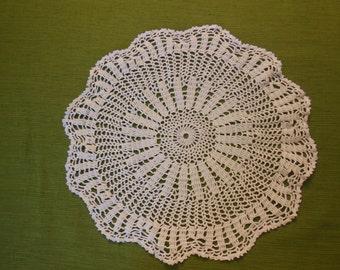 Large White crochet doily.