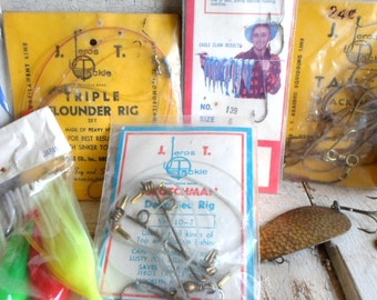 1960s, Fishing Tackle, Instant Collection, Vintage Fishing Hooks, Sports and Camping, Display, Props, Industrial, Hunting Lodge, Cabin