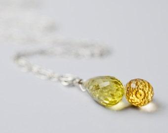 Gemstone Lariat, Citrine & Lemon Quartz Lariat Necklace, Gemstone Lariat Necklace, Briolette Pendant, Wire Wrapped Briolette Necklace