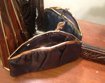 Vintage 1950s HL Navy Blue and Gold Leather Clutch made in USA