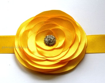 Yellow Bridesmaid Sash, Bridal Flower Wedding Belt