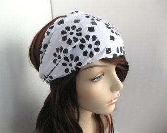 Black Flower Batik Fabric Headband Yoga Womens Headband Head Wrap Women's White Gypsy Bandana Gift Guide Hair Accessory Womens Gift for Her