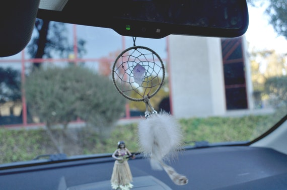 Three Feather Car Dash Rear View Mirror Dream Catcher Brown