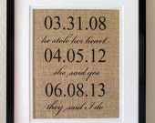 Burlap Print, Dates of Our Love, Dates Our Lives Changed Forever, First year Anniversary, Wedding Sign