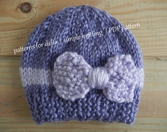 Bow Hat KNITTING PATTERN newborn baby infant toddler child photography prop