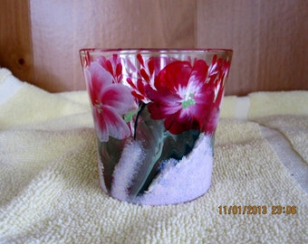 Candle Holder with spring flowers hand painted candle included