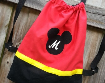 Personalized Disney Red Mickey Mouse Inspired Drawstring Backpack Purse