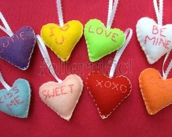 Set of 8 Felt Conversation Heart Embroidered Ornaments