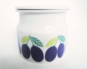 Vintage Arabia of Finland Lidded Jar with Plums