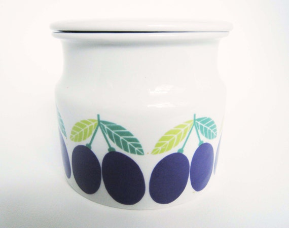 Vintage Arabia of Finland Lidded Jar with Plums