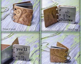 "Dr. Seuss ""Oh the places you'll go"" Stamped Book Necklace"