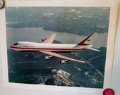 Airplane Boeing 747 Jet Vintage Poster Retro Seattle History