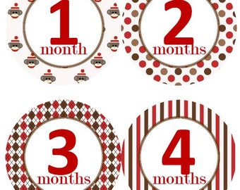 Baby Monthly Milestone Growth Stickers Red and Brown Sock Monkey Nursery Theme MS520 Baby Shower Gift Baby Photo Prop