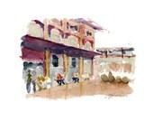"""5""""x 7"""" Watercolor Sketch Print: """"La Placita"""", by Luis E. Aparicio"""
