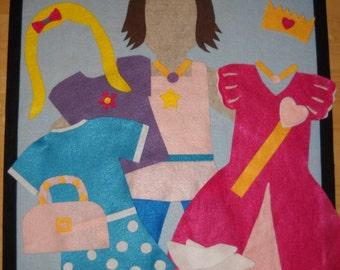 Large Felt Dress-Up Doll Wall Hanging, 2 x 2 1/2 feet