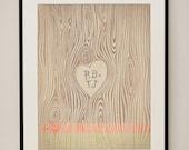 Customizable Wood Grain Heart 11x14 Art Print