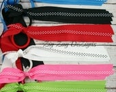 Solid Pony O Streamers with Polka Dots - You Choose One - Black, Pink, Red, White, Lime, & Blue
