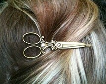 Scissor Necklace shears with matching Bobby pin bronze gift / present / hairdresser / hair stylist bobbi hair pins jewellry