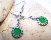 Green Enamel Steampunk Earrings, Silver Earrings