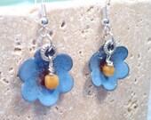 Torch Fired Enamel Blue Flower Earrings