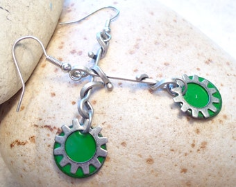 Green Enamel Steampunk Earrings, Silver Earrings