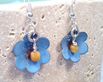 Torch Fired Enamel Blue Flower Earrings