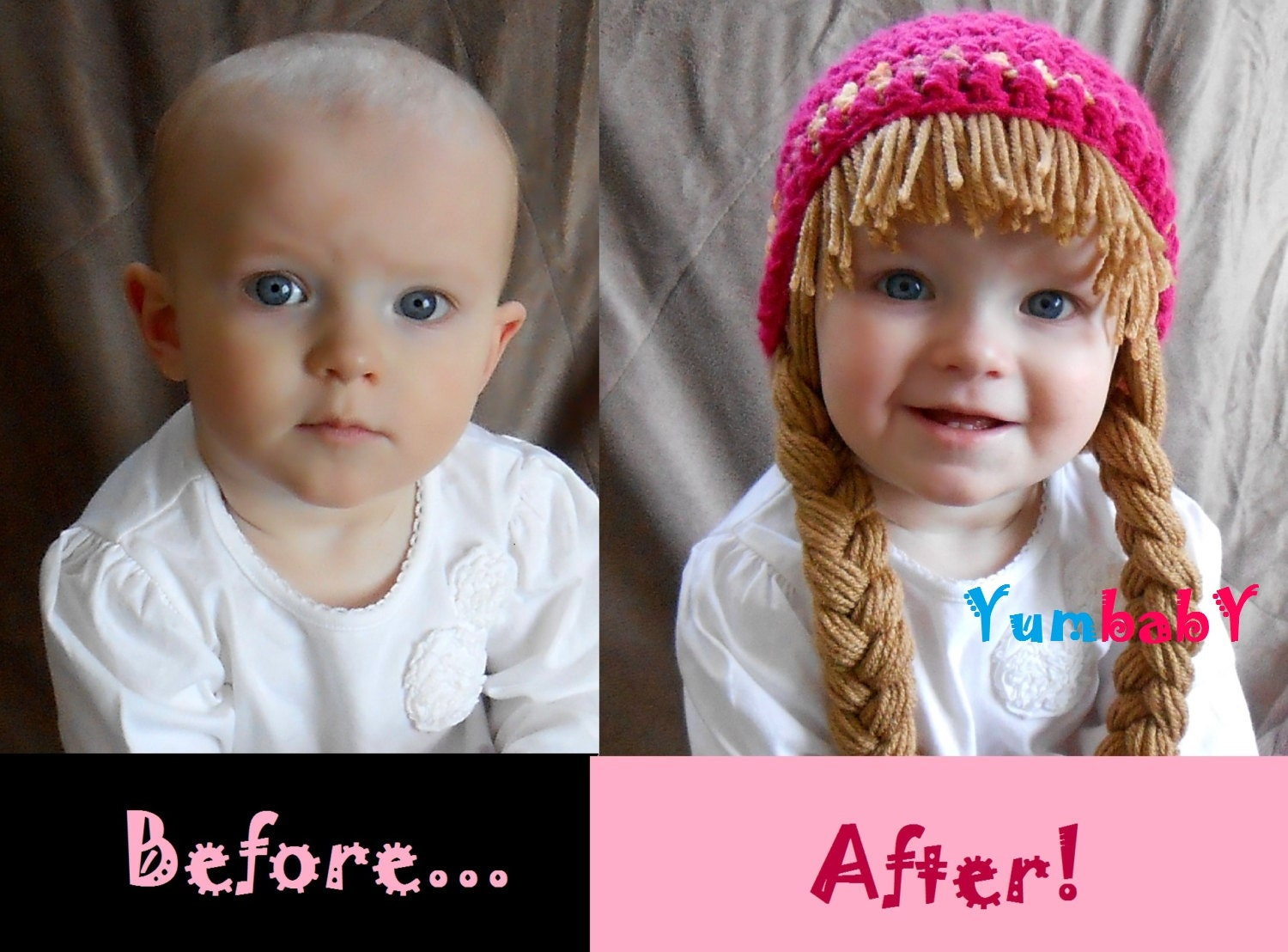 Free Crochet Baby Wig Hat Pattern : Baby Hat Cabbage Patch Hat Pigtail WIg Costume Photo Props