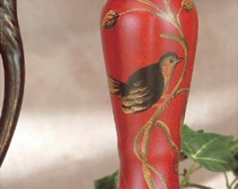 Red 'Nightengale' Porcelain Candleholder