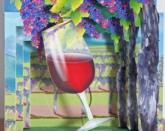Pop up Card Celebrate Winemaking Vineyard with wine glass