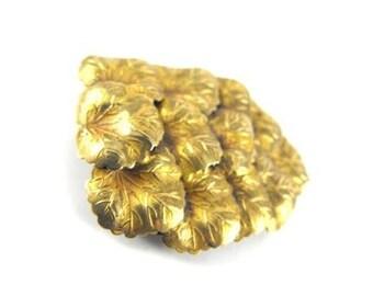 Art Nouveau Dress Clip Gilded Brass Leaves Dimensional Beauty