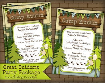 Camping Birthday Party - Outdoors Birthday Party - Printable Camping Invitation - DIY Camping Party - Boys Birthday Party - Camping Party