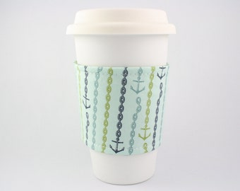 nautical, anchors, fishing, boating, chain, starbucks, refluff, upcycled, eco friendly, coffee sleeve, coffee cozy, tea cozy, reversible