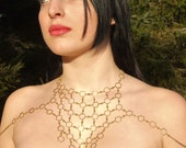 Queen Bee Geometric Body Chain--Hexagon Chainmaille--Body Harness--Body jewelry--Goddess Avante Garde Honeycomb Bib Geometric