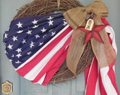 Patriotic Flag Wreath - XLARGE 24'' WREATH Grapevine - 4th of July wreath - Memorial Day LIMITED in supply - order soon
