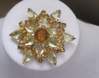 Vintage Jewelry Brooch Pin Topaz Amber Starburst Statement Piece 1950's Mid Century