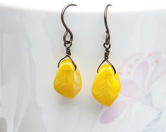 Yellow Leaf Earrings, Yellow Dangle Earrings, Nature Jewelry, Gift for her under 25 dollars
