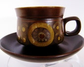 Denby Arabesque tea or coffee cup and saucer made in England in the mid century