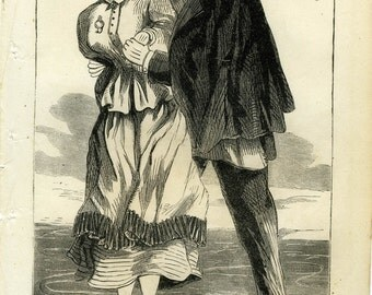 Original Antique wood engraving two people ice skating ca.1860