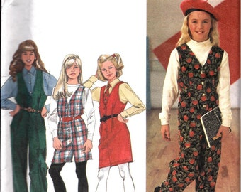 Girls Jumpsuit in Two Lengths and Jumper Pattern, Simplicity 8631, Size 7-14, UNCUT