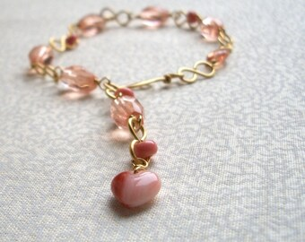 Coral Pink Adjustable Bracelet- Heart of Coral, Ready to Ship