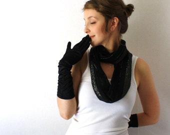 SALE!! Up-cycled Black Circle Scarf -  Black and Gold - Black Scarf  - Infinity Scarf - Loop Scarf - Spring Fashion - Mothers Day